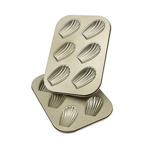 Professional 6-Cup Non-Stick Madeleine Pans Heavy Carbon Steel Madeline Baking Pan 2 Pack Warp Resistant Madeline Pans for Baking, Gold