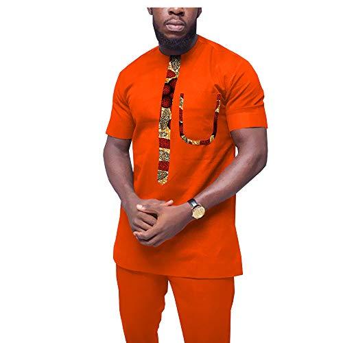Afrikanische Kleidung für Herren, Trainingsanzug, Dashiki-Hemden und Bedruckte Hose, traditionelles Set Outfits - Beige - L