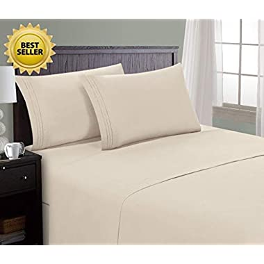 HC Collection Bed Sheet & Pillowcase Set HOTEL LUXURY 1800 Series Egyptian Quality Bedding Collection! Deep Pocket, Wrinkle & Fade Resistant,Luxurious,Comfortable,Extremely Durable(Queen, Cream)