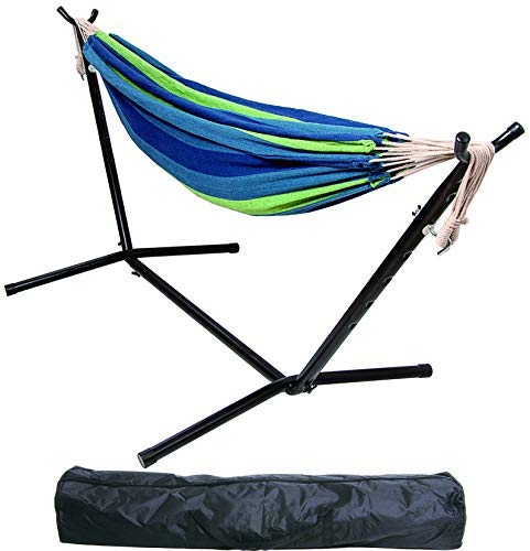 BalanceFrom Double Hammock with Space Saving Steel Stand and Portable Carrying Case, 450-Pound...