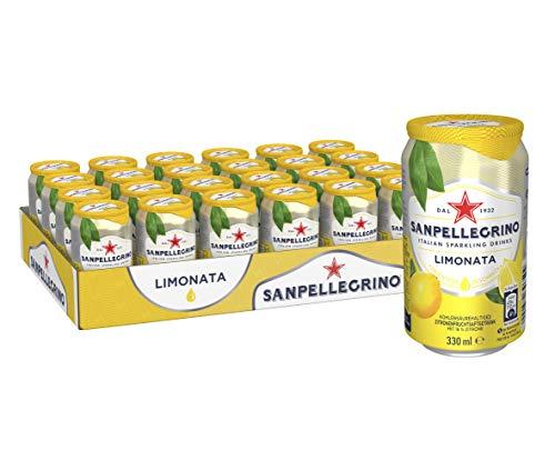 San Pellegrino Limonata, Zitronen Limonade, Hoher Fruchtanteil, 16% frisch gepresste Zitronen, Saure Geschmacksnote, Ohne künstliche Farbstoffe, 24er Pack, EINWEG (24 x 0,33l)