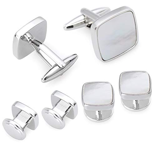 AMITER Mother of Pearl Cufflinks and Tuxedo Studs Set for Mens Shirts Wedding/Business/Formal Event