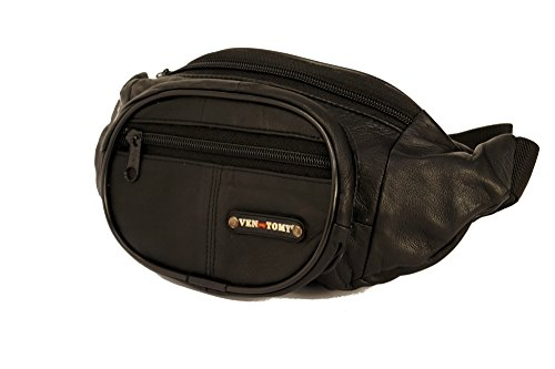 Ven Tomy Leren heuptas voor dames en heren, heuptasje, buiktasje, Doggy Bag in vintage-stijl, met 3 vakken en verstelbare riem, nappaleder, zwart