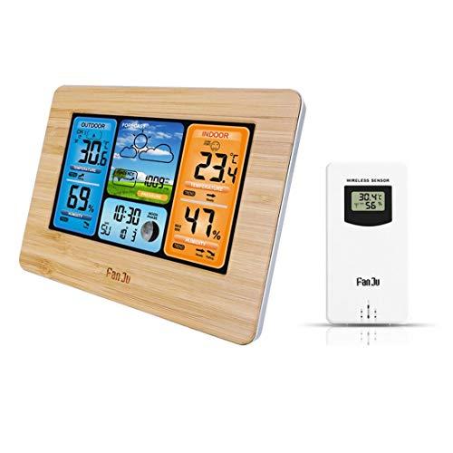 Dxyap Wetterstation Funk mit Farbdisplay, Außensensor | DCF Empfangssignal Funkuhr | Innen- und Außentemperatur Wettervorhersage-Piktogramm UVM | LCD-Display