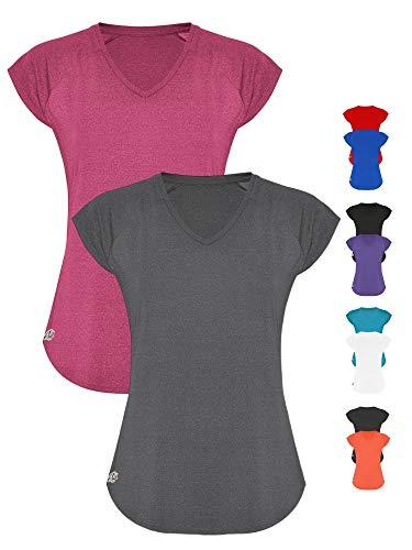 GO HEAVY Damen 2er-Pack Fitness Funktions Sport T-Shirt Laufshirt Kurzarm Schnelltrocknend | Grau/Rosa L