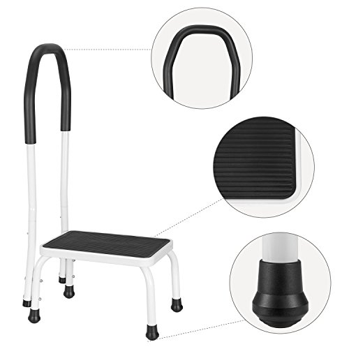 Ollieroo Step Stool Steel Support Ladder with Cushion Grip Handle, Non Skid Rubber Platform One Step 330-Pound Capacity (Black+White)