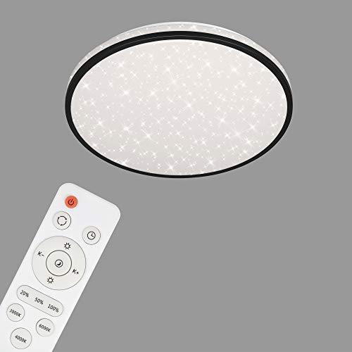 Briloner Leuchten - LED Deckenleuchte, Deckenlampe dimmbar, Sternendekor, Farbtemperatursteuerung, Fernbedienung, Memory-Funktion, Nachtlichtfunktion, Timer, 24 Watt, 2.400 Lumen, Weiß-Schwarz, Ø 38cm