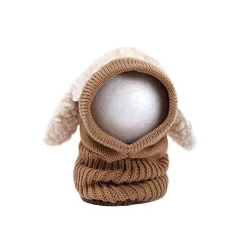 BESTOYARD Hüte niedlichen Hund Design Modellierung halten warme Gestrickte Woll Coif Hood Schal Caps Hüte (Khaki)
