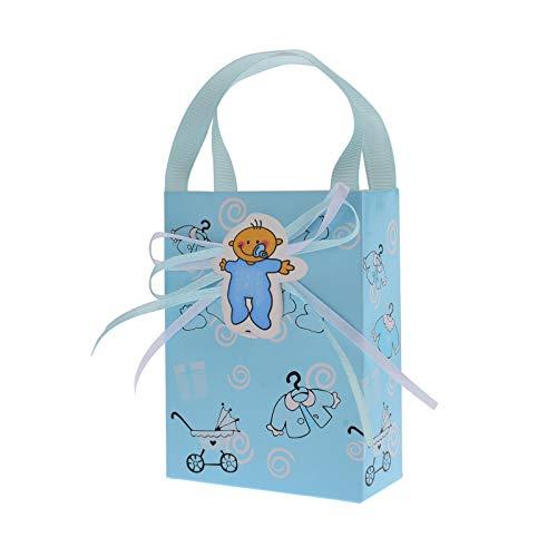 FLOWOW 24p blu marsupio piccolo pacchetto tasche Sacchetto Confezione Cookie scatola portaconfetti scatolina bomboniere decorazioni per bimbo battesimo nascita bambino festa compleanno maschio ragazzo