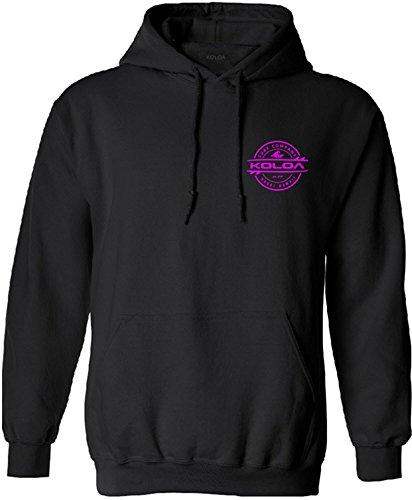 Joe's USA Koloa Surf Thruster Logo Hoodie, Hooded Sweatshirt-M-Black/Pink