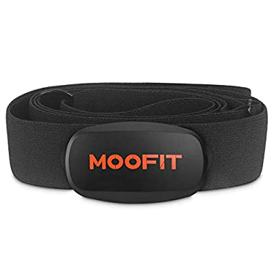 MOOFIT Heart Rate Monitor with Chest Strap Bluetooth & ANT+ Chest Heart Rate Sensor IPX7 Waterproof Fitness Tracker Compatible with Zwift, Wahoo Fitness, Endomondo, Peloton, Adidas Run and More