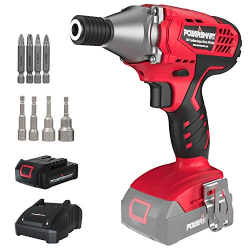 PowerSmart Cordless Impact Driver, 1/4'' Impact Wrench w/ 20V Lithium Ion Battery, Drill Driver Max. Torque 1950in-lbs, 1800RPM Variable Speed Impact Drill Driver, Fast Charger & LED Light, PS76425A