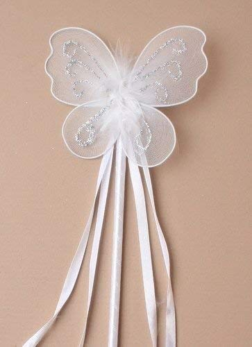 Vlinder feeënprinses toverstaf glitter detail linten kostuum bloemenmeisjes (wit)