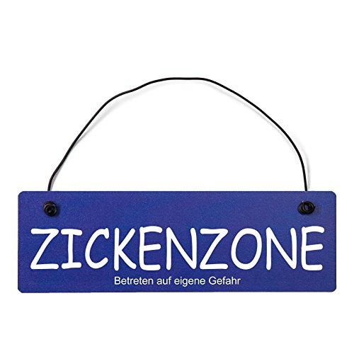 Deko Shabby Chic Schild Zickenzone Vintage Holz Türschild in hellblau mit Draht