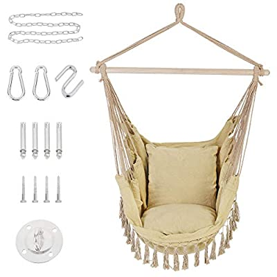 Patio Watcher Hammock Chair Hanging Rope Swing Seat with 2 Cushions and Hardware Kits, Perfect for Indoor, Outdoor, Home, Bedroom, Patio, Yard?Deck, Garden, Brown