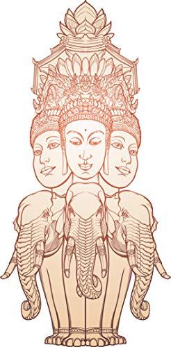 "Beige Religious Hindu Gods Elephant Statue Cartoon Vinyl Sticker (12"" Tall)"