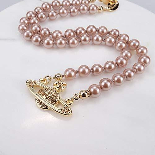 Fnho Crystal Rhinestone Saturn,Pearl Necklaces White Planet Crystal,Collar de Perlas Saturno, Cadena de clavícula de Diamantes Brillantes-B_Upgrade Pack
