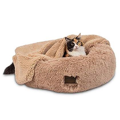 Sehr komfortabel: Donut-Bett und Decke für Haustiere mit extraweichem veganem Kunstfell, das Ihrer Katze, kleinen Rassen und mittelgroßen Hunde Wärme, Komfort und Unterstützung bietet. Bekämpft Angst: Eine einzigartige Donut-Form und hohe gepolsterte...