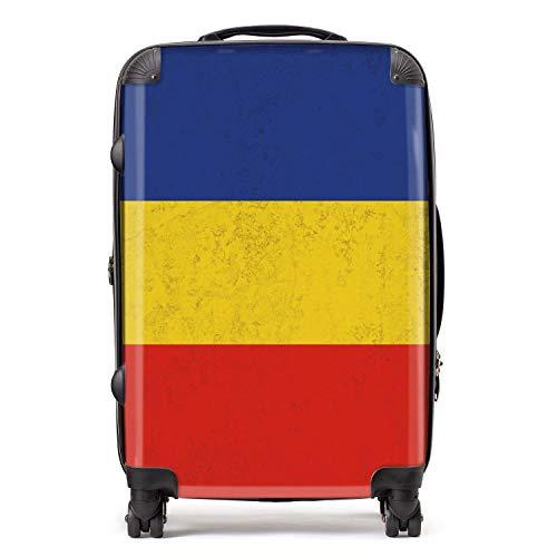 Roemeens/Roemeense vlag Oost-Europese vlaggen koffer met TSA Lock 4 Spinner Wheels Bagage 68cm 80Ltr