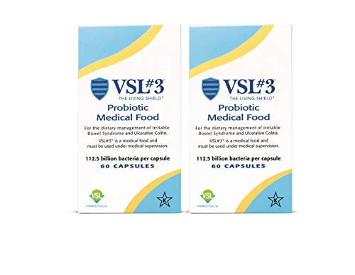 VSL#3 - Probiotic Medical Food for Dietary Management of Irritable Bowel Syndrome (IBS) - High Dose and High Potency Refrigerated Probiotic with 112.5 Billion CFU - 2-Pack 60 Capsules Each