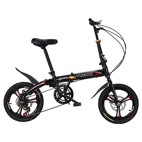 MU 14-Zoll-Klapprad Mini Ultraleicht Tragbare Variabler Geschwindigkeit Scheibenbremse Erwachsene Kinder Studenten Männer Und Frauen 16 Kleine Fahrräder,Schwarz,16 Inches