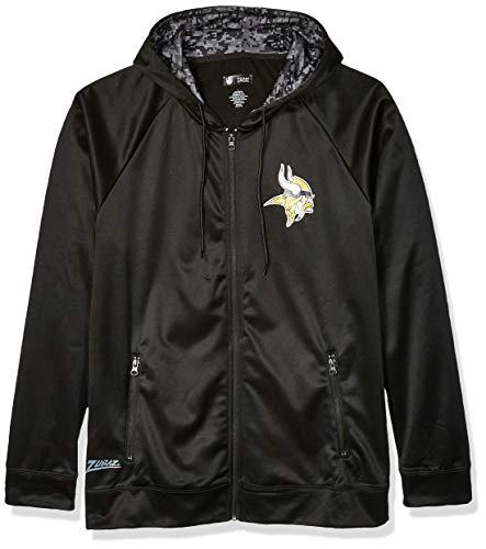 NFL Minnesota Vikings Men's Full Zip Hoodie, Black, XX-Large