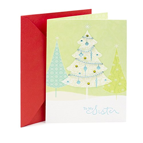 Hallmark Christmas Card for Sister (Glittering Trees)