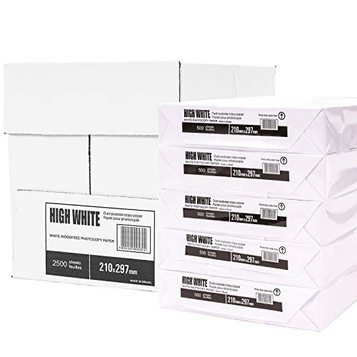 Druckerpapier DIN A4, 75 g/m², 2500 Blatt, Weiß - Kopierpapier, Papier Fax Laserpapier Universalpapier für alle Drucker, Fotokopierpapier Seiten