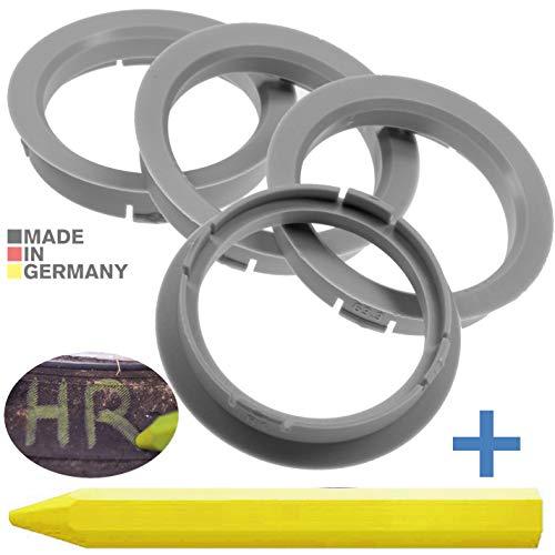 RKC 4X Anelli di centraggio Grigio Chiaro 63,3 mm x 54,1 mm + 1x Pastello per Gomma e Pneumatici in Verde Prodotto in Germania