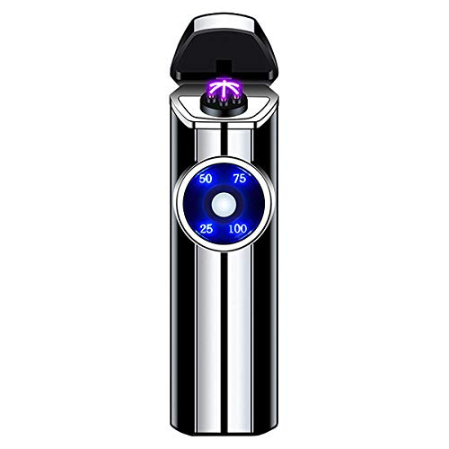 Windproof Lighter Outdoor, Triple-Arcs Electric Lighter, Rechargeable USB Lighter, Flameless Plasma Lighter with Battery Indicator