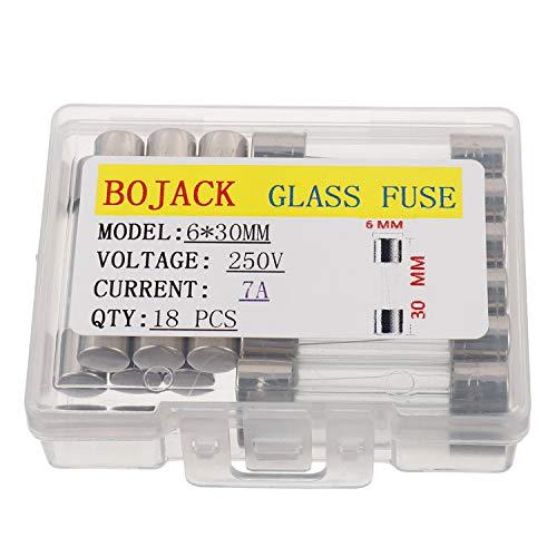 BOJACK 6x30 mm 7 A 250 V 0,24 x 1,18 Zoll F7AL250V 7 Ampere 250 Volt Fast-Blow Glas sicherungen (Packung mit 18 Stück)