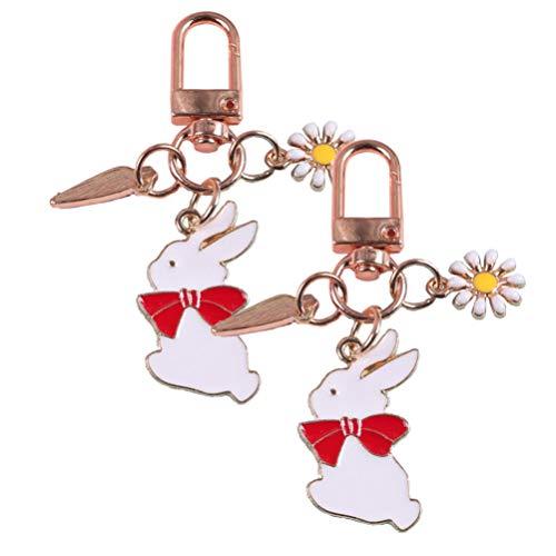 VALICLUD Oster Schlüsselbund Hase Gänseblümchen Schlüsselring Schlüssel Anhänger Ornamente Kreative Schlüsselring Handtasche Charms Tier Party Begünstigt Ostern Valentinstag Liefert