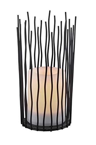 Reality Leuchten LED Solar Außentischleuchte Coro R55136132, Kunststoff schwarz, LED mit Flacker Effekt