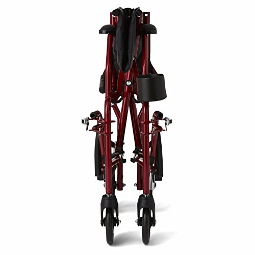 """Medline Ultralight Transport Wheelchair with 19"""" Wide Seat, Folding Transport Chair with Permanent Desk-Length Arms, Red Frame"""
