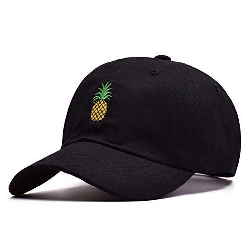 BESTOYARD Ananas Stickerei Twill Cotton Peaked Cap Baseball Cap Low Profile Hut für Frauen Männer (schwarz)