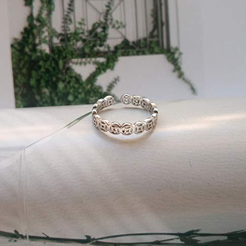 LYLLXL Offene Ringe Für Damen,Vintage Einstellbare Öffnen Thai Silverbronze Münzen Kette Weihnachten Geschenk Schmuck Für Hochzeit Party Frauen Männer Paare