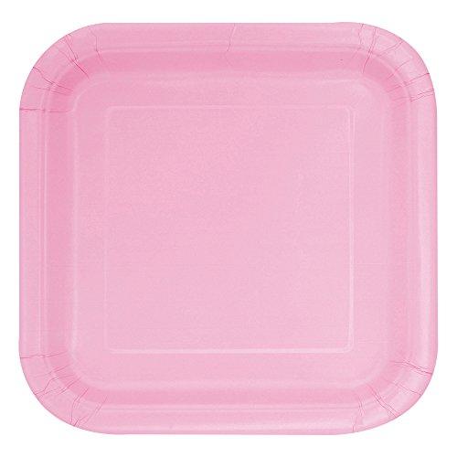 Unique Party - 30880 - Paquet de 16 Assiettes Carrées en Carton - 18 cm - Rose Pastel