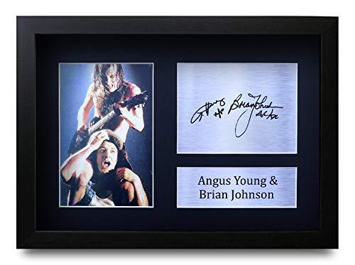 HWC Trading Angus Young & Brian Johnson A4 Gerahmte Signiert Gedruckt Autogramme Bild Druck-Fotoanzeige Geschenk Für ACDC Musik-Fans