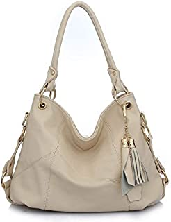 Tassels Woman Package Single Shoulder Span Portable Genuine Leather Split Joint Ma'am Bag Leisure Handbag (Color : White)