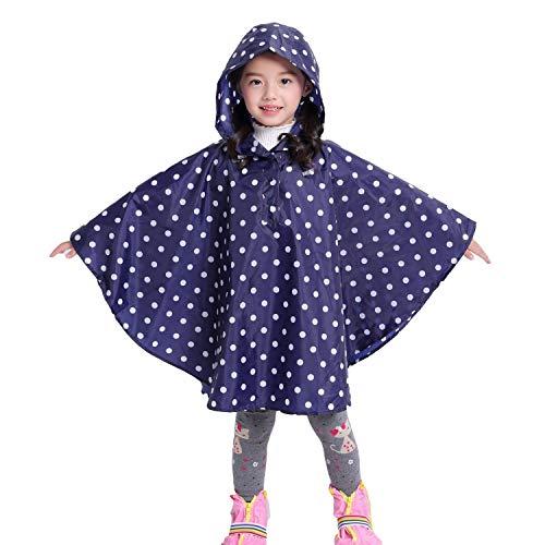 chuangminghangqi Regenmantel Kinder Regenponcho mit Kapuze wasserdicht regencape für Kinder und Mädchen (S, Blau Punkte)
