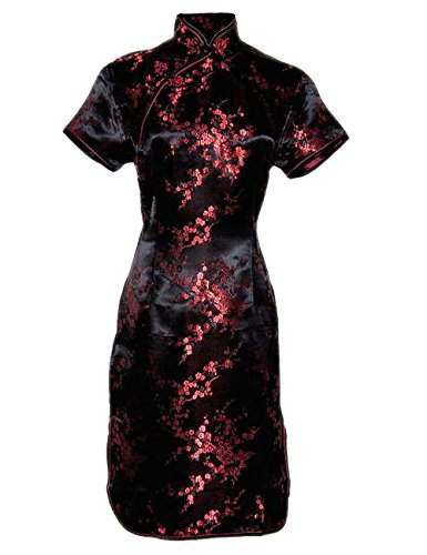 Vestito Cinese Corte Nero e Rosso Qipao a Maniche Corte Abito Donna Modello Fiore Taglia 38