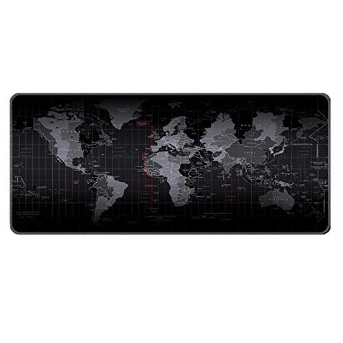 Gaming Mouse Pad Large Extended Mouse Mat with Stitched Edge Desk Mat Keyboard Pad for Laptop Computer Desktop PC Gamer Office and Home Non-Slip Rubber Mousepad (27.5' x 11.8' Map)