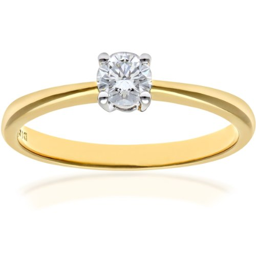 Naava Women's 18 ct Yellow Gold Solitaire Engagement Ring, IJ/I Certified Diamond, Round Brilliant, 0.25ct, Yellow Gold, P