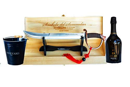 YesEatIs - Sciabola del Sommelier - Starter Kit con Secchiello per Ghiaccio e Bottiglia di Bollicine Italiane (Prosecco D.O.C)