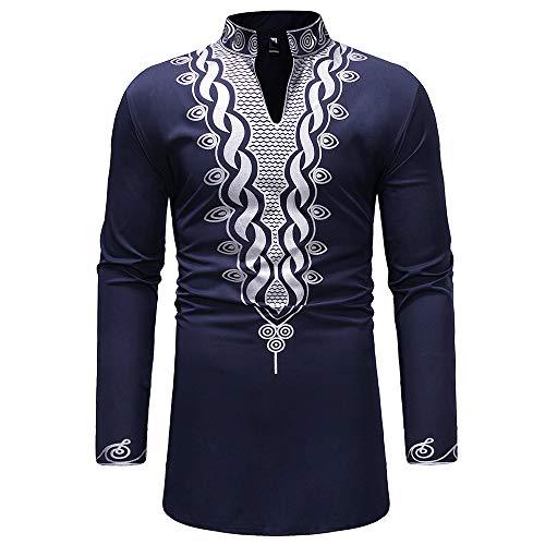 Sunenjoy Homme Chemise Long Africain Slim Fit Manches Longues Col Mao Boutonné Top Blouse Casual Tee Shirt Imprimé Floral Style Ethenique Repassage Facile (Marine 2, M)