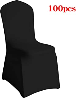 Desirable Life Pack of 100 Universal Spandex Stretch Banquet Wedding Party Dining Chair Covers (Black/Flat Front, 100)