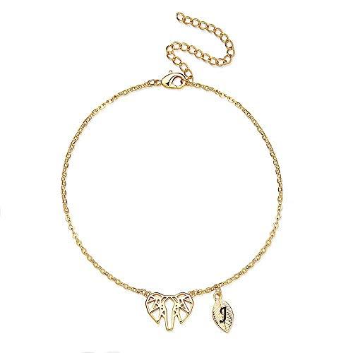 MONOOC Elephants Gifts for Girls Bracelet, 14K Gold Plated Geometric Origami Elephant Bracelet Leaf Initial Bracelet J Letter Leaf Bracelet Elephant Gifts for Teens