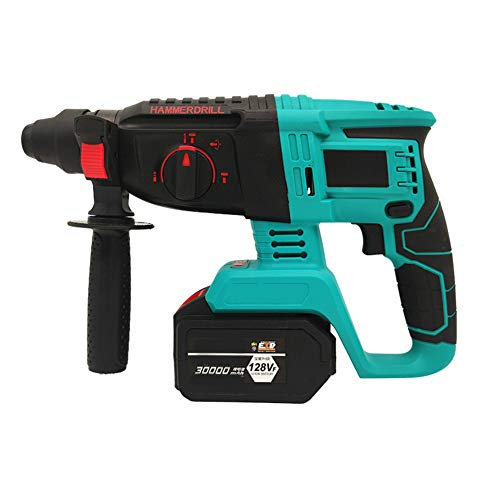 Three Functions Hammer Drill, Industrial Grade Brushless Rechargeable Lithium Battery Electric Hammer Electric Pick Electric Drill Steplessly Variable Electric Hammer,30000mah,1 battery