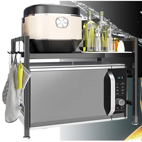 Estantería de Cocina, Soporte para Horno para Microondas Estante de Almacenamiento para Microondas Metal con 2 Estantes con Ganchos para Mini Horno Especias Utensilios de Cocina Vintage