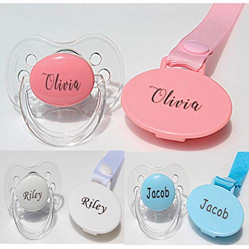 Personalized Pacifier and Pacifier Clip Pink (0-6 or 6-18 Months) BPA-Free CAN BE STERILIZED 3 Nipple Shapes (0-6 Months)